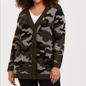 Torrid Camouflage Button Up Cardigan